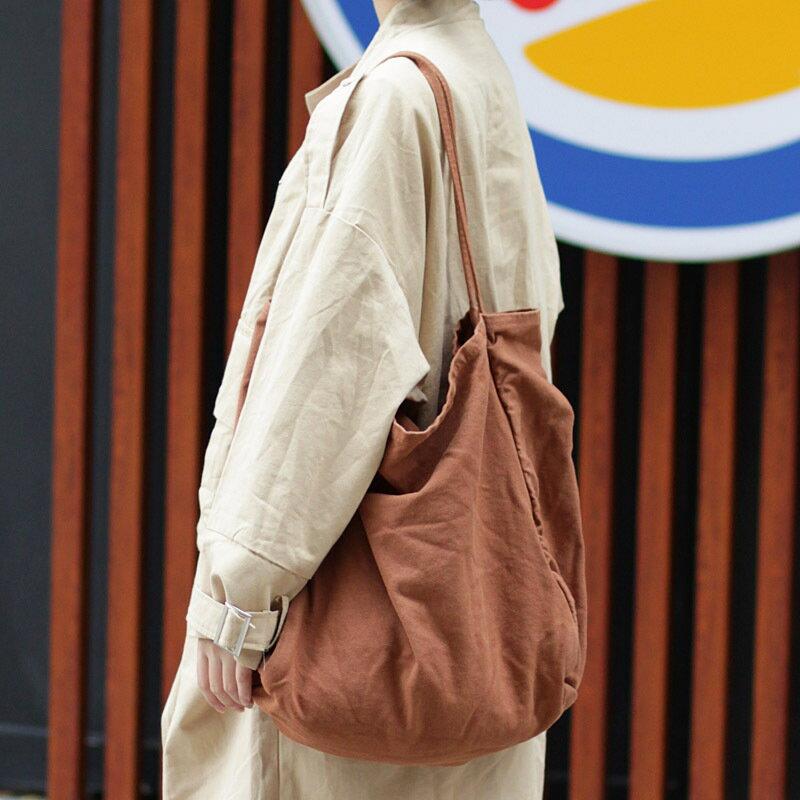 韓版簡約大容量帆布包網紅時尚森系文藝單肩包休閒洗水布包手提包