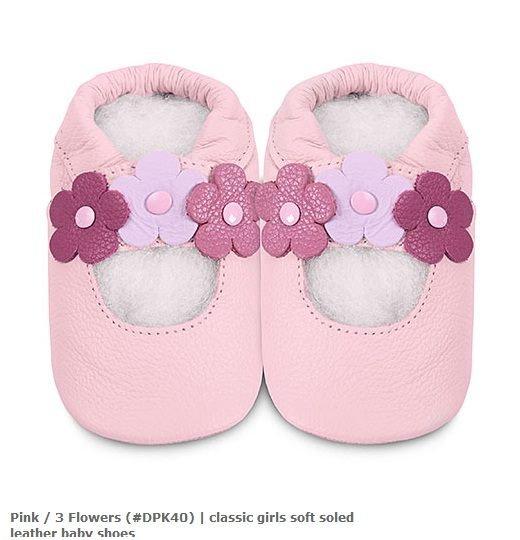 【hella 媽咪寶貝】英國 shooshoos 健康無毒真皮手工鞋/學步鞋/嬰兒鞋 淡粉三朵小花 DPK40