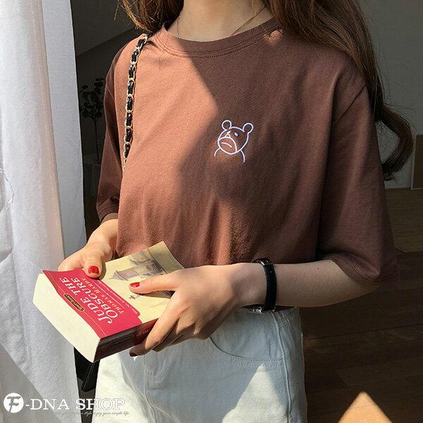 F-DNA★萌萌小熊刺繡圓領短袖上衣T恤(3色-均碼)【ET12703】 2