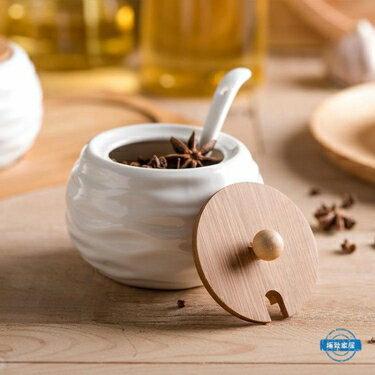 免運 調味罐陶瓷調味瓶陶瓷竹木架調味罐調料瓶調味盒日式廚房用品三件套裝