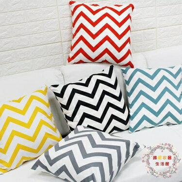 抱枕北歐簡約條紋幾何抱枕創意沙發靠枕辦公室靠墊床頭車腰枕午睡亞麻