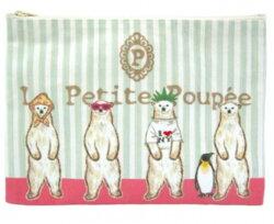 【日本製】la petite poupee 超可愛插畫風格 PVC防潑水化妝包/收納袋/筆袋【北極熊】【快樂熊雜貨舖】