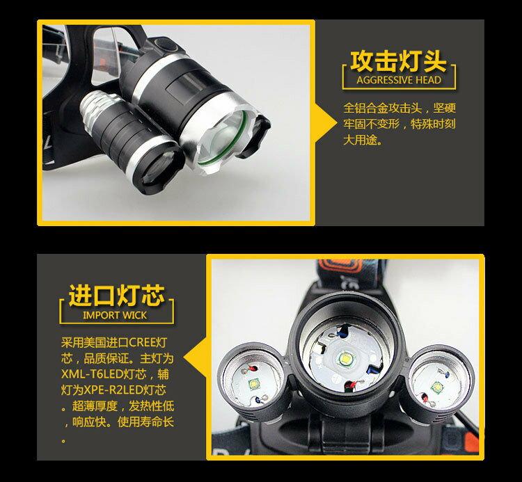 [Unifiy]  T6 3顆頭燈 強光頭頭戴式頭燈 鋰電池充電防水釣魚頭燈 探照燈 工作燈 照明燈 維修燈 3