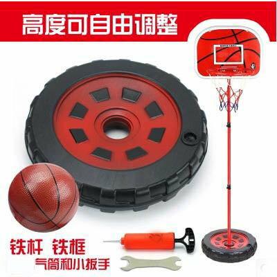 【1.7米鐵杆鐵框籃架配2球-兩款可選-1款組】便攜式兒童籃球架可升降移動家用-5670709