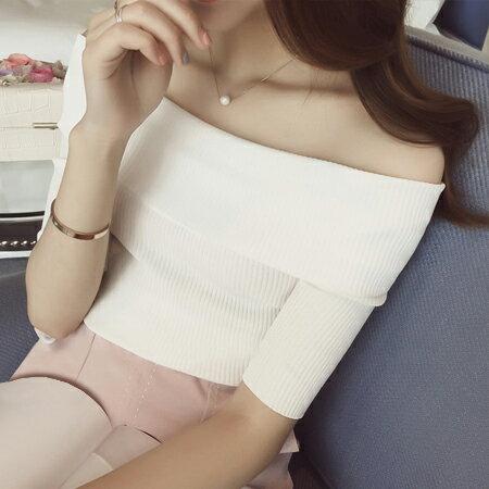 SISI~U6010~休閒 修身純色反摺一字領短袖針織衫緊身上衣