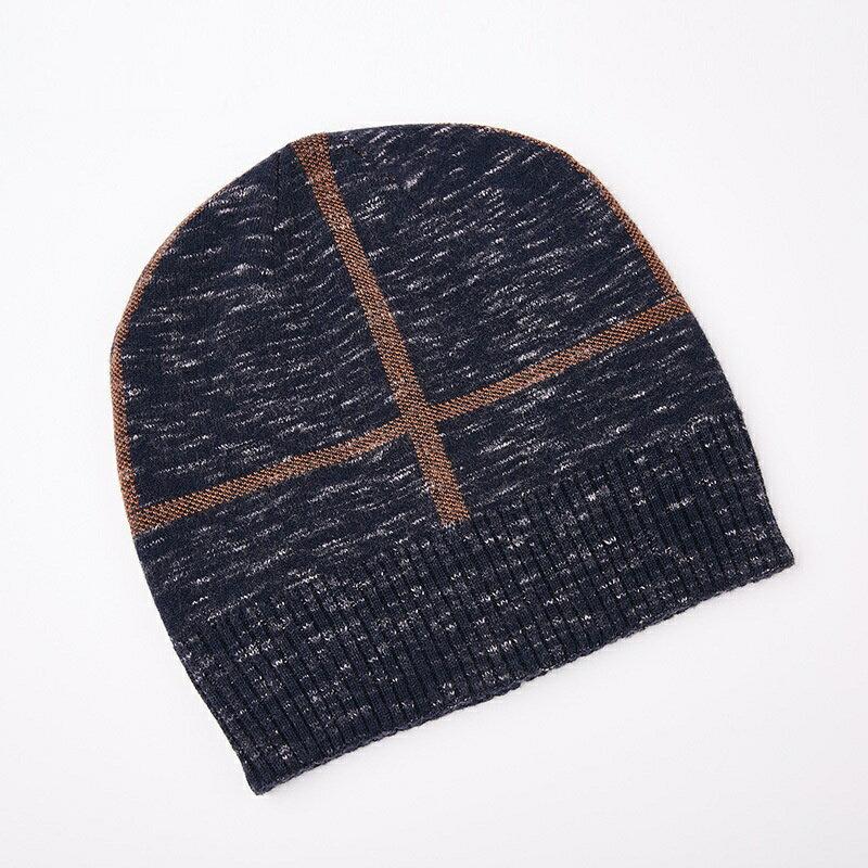 毛帽羊毛針織帽-十字提花捲邊休閒男帽子2色73wj26【獨家進口】【米蘭精品】 2