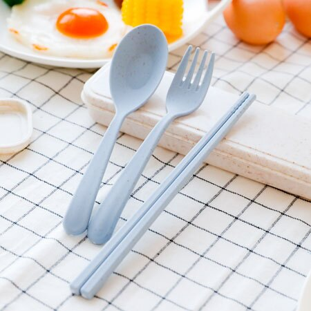 小麥環保便攜餐具組 三件組 餐具組 湯匙 筷子 叉子 餐具 環保 收納盒 午餐 外食族【N202756】