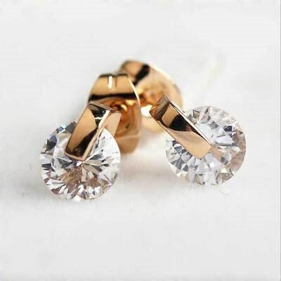 ~玫瑰金耳環925純銀水晶耳飾~ 簡約 生日情人節 女飾品2色73gs6~ ~~米蘭 ~