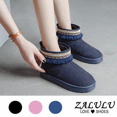 民族風圖騰流蘇雪地靴(3色)