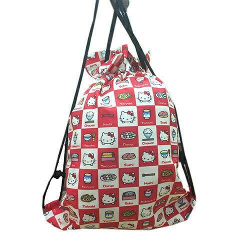 【真愛日本】17041700035 束口袋後背包-KT格紋食物 三麗鷗 Hello Kitty 凱蒂貓 提袋 後背 收納包 束口袋