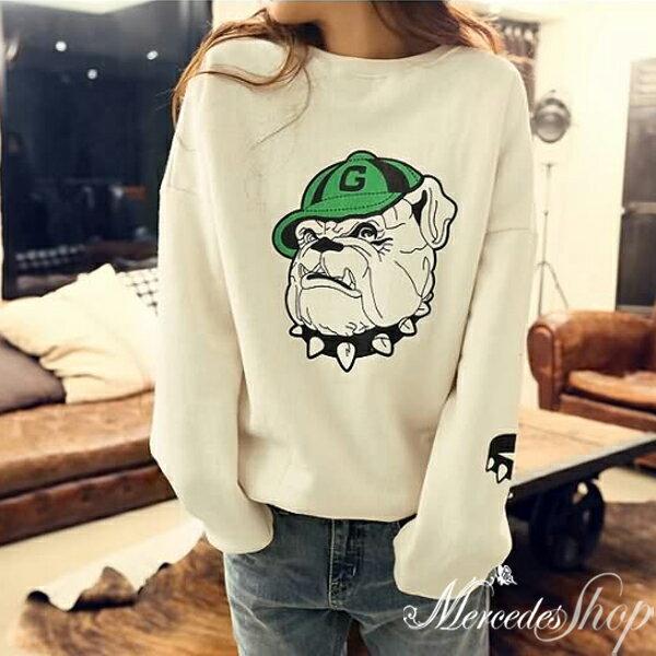 梅西蒂絲Mercedes Shop:《現貨出清5折》韓國加絨加厚休閒寬鬆印花狗棉質T恤-梅西蒂絲(現貨+預購)