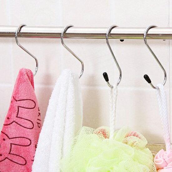 ♚MY COLOR♚S形不鏽鋼掛鉤 廚房 衛浴 懸掛 黏貼 壁掛 裝飾 收納 門背 櫥櫃【N75-1】