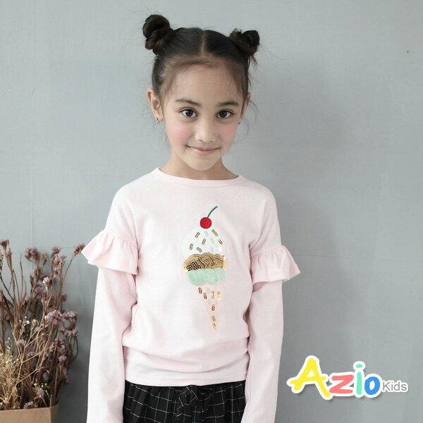 Azio Kids美國派:《美國派童裝》上衣亮片冰淇淋荷葉袖長袖T恤(粉)