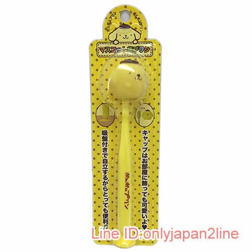 【真愛日本】17030900009 造型牙刷付吸盤-PN黃AAF 三麗鷗 布丁狗 牙刷 衛浴組
