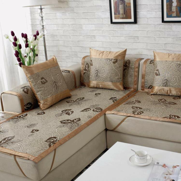 沙發墊涼席墊冰絲涼墊藤席子沙發坐墊客廳歐式布藝防滑沙發套