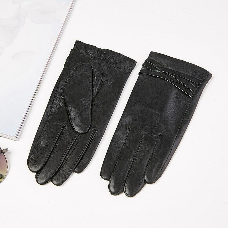 觸控手套真皮手套-交叉編織山羊皮薄款女手套73wm68【獨家進口】【米蘭精品】 0