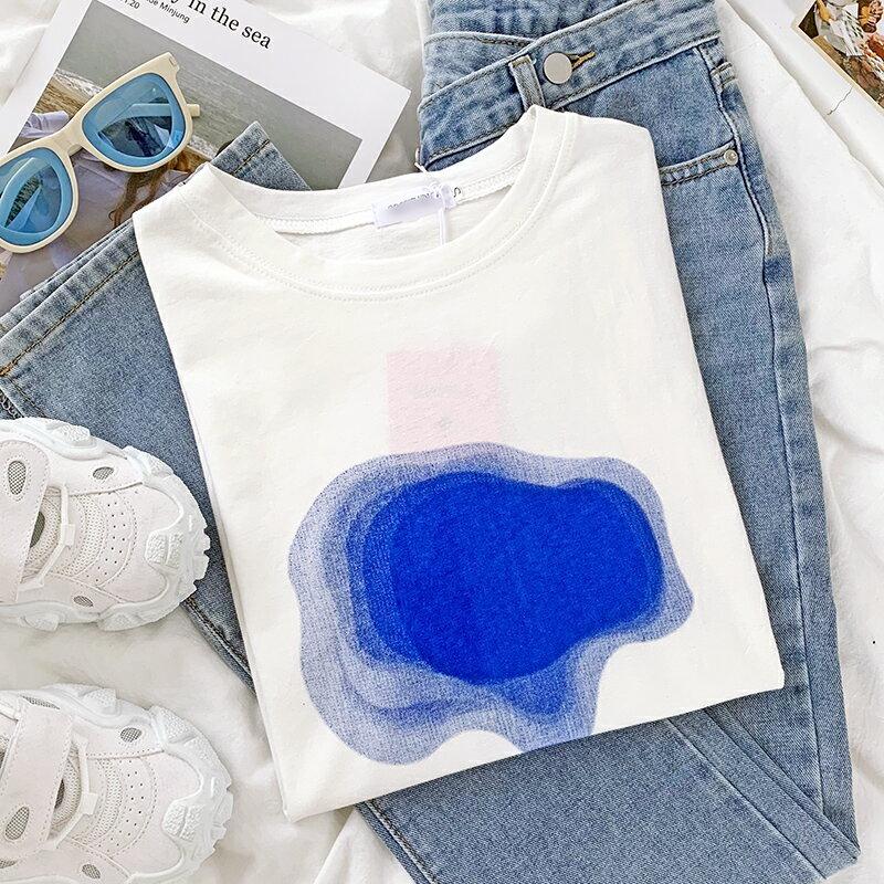 日系設計感暈染藍色夏日基礎白圓領寬松顯瘦休閑百搭短袖T恤