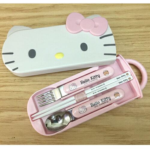 【真愛日本】17051700015 立體造型靜音餐具組-KT大臉粉結 三麗鷗kitty凱蒂貓 餐具組 筷子叉子湯匙