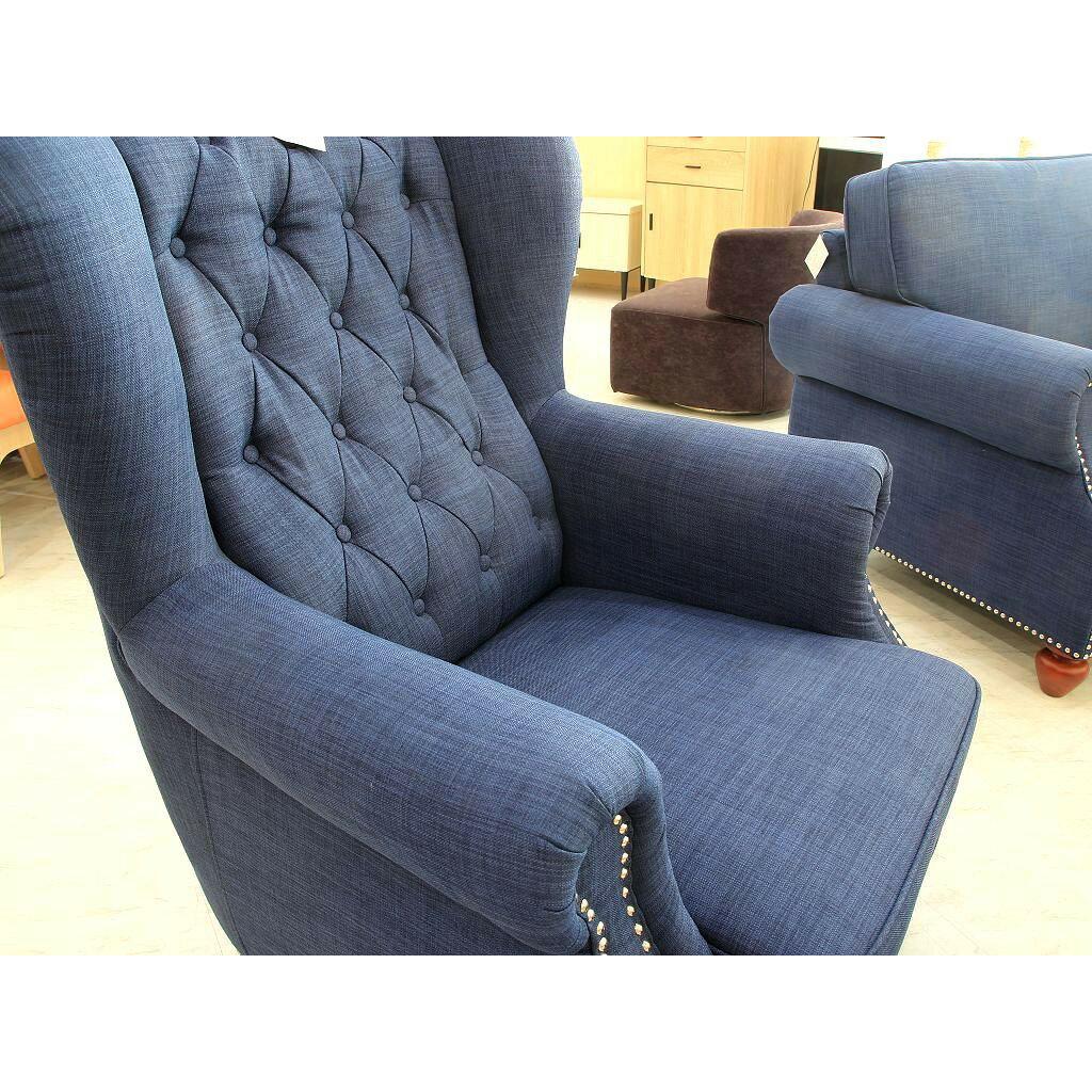 【歐風別館】香格里拉歐式布沙發--主人椅+腳椅【基隆至台中免運費】
