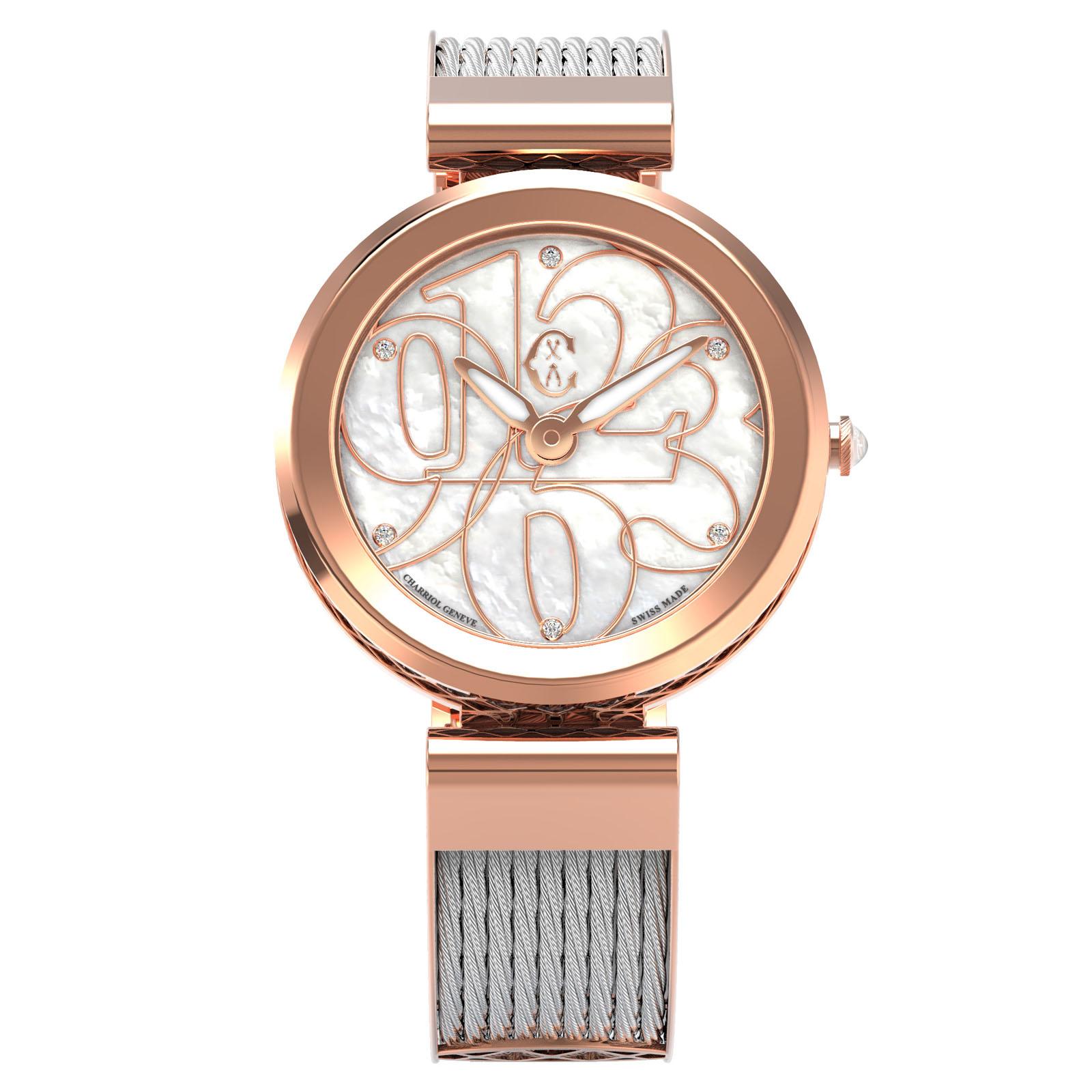CHARRIOL夏利豪(FE32.102.002)Forever系列半鋼索數字時尚腕錶/珍珠母貝面32mm