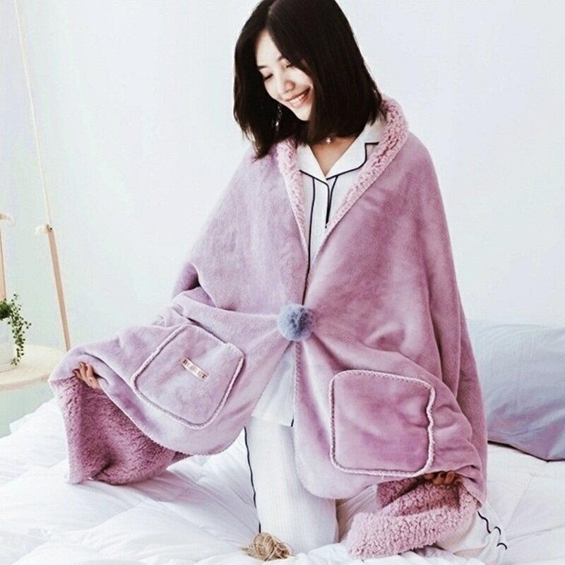 親子情侶超柔軟法蘭絨斗篷披肩蓋毯