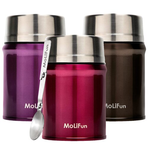 MoliFun魔力坊 316不鏽鋼輕量真空保鮮保溫悶燒罐/悶燒杯800ml(3色)(MF0800) 燜燒罐│食物罐
