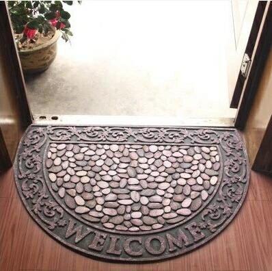 樂天優選 快速出貨 高檔歐式入戶門廳地墊地毯蹭土 半圓形腳墊腳踏墊進門門墊(尺寸:60CM90CM )