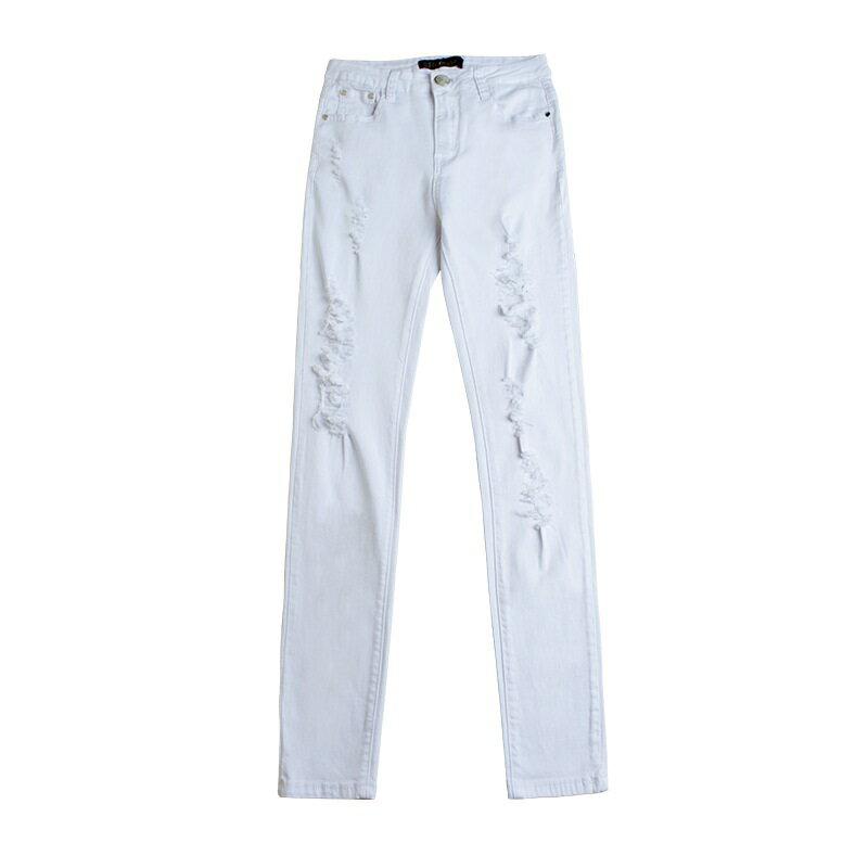 牛仔褲丹寧小腳褲-白色磨破棉質彈力女長褲73wx20【獨家進口】【米蘭精品】 0