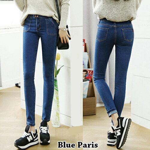 促銷專區免運 - 牛仔褲 - 斜口袋兩釦牛仔褲【23279】藍色巴黎《S~L》現貨+預購