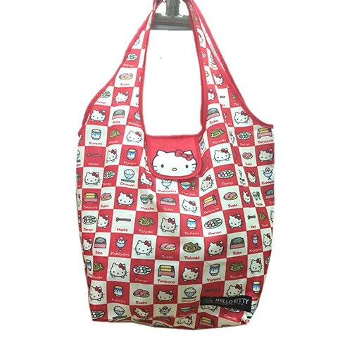 【真愛日本】17041700025 環保收納提袋-KT格紋多圖 三麗鷗 Hello Kitty 凱蒂貓 旅行袋 購物袋