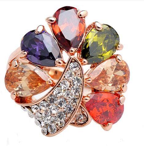 孔雀動物潮人女食指戒指環玫瑰金 飾品 金戒首飾水晶榴石生日