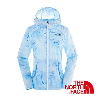 美國The North Face 女 抗UV連帽外套『藍』抗風設計│路跑慢跑運動外套 2VEO