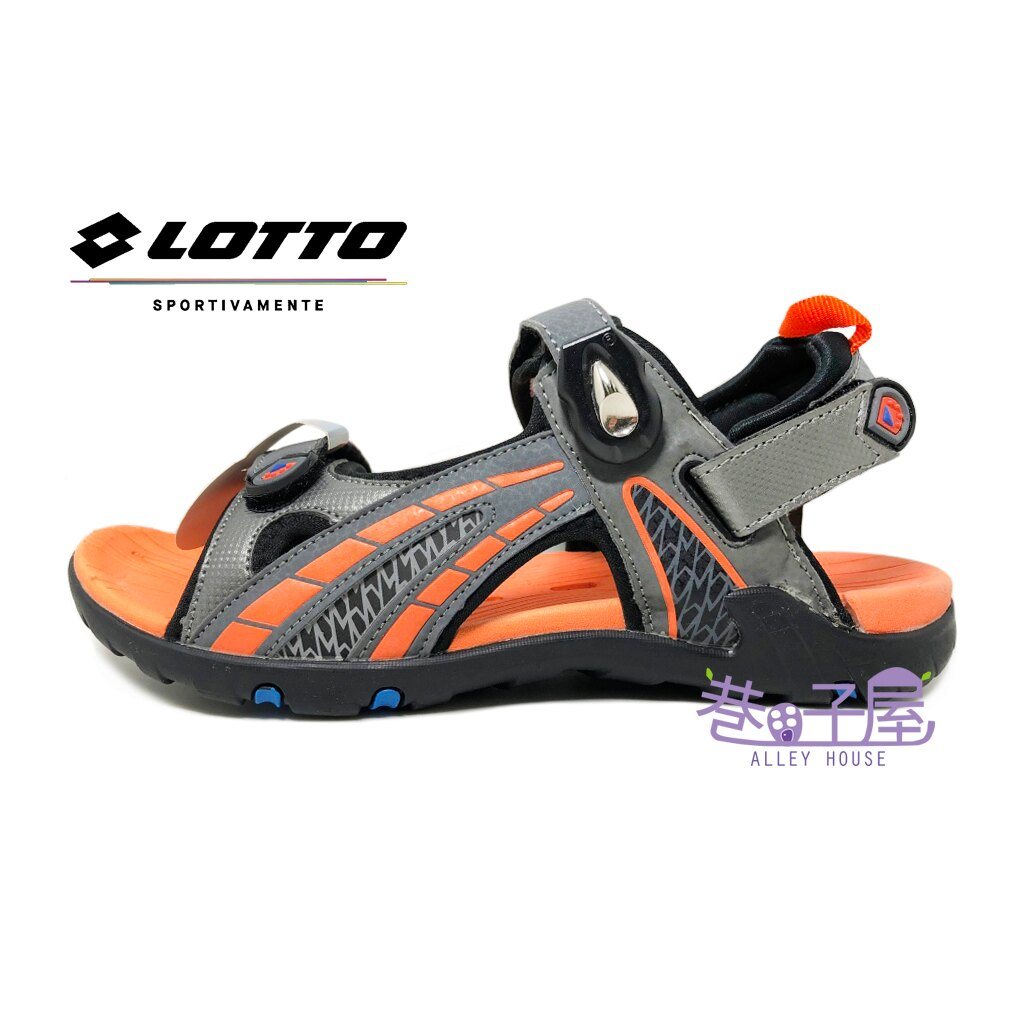 【巷子屋】義大利第一品牌-LOTTO樂得 男款六大機能排水磁扣戶外運動兩穿式涼拖鞋 涼鞋 拖鞋 [3138] 灰橘 超值價$398