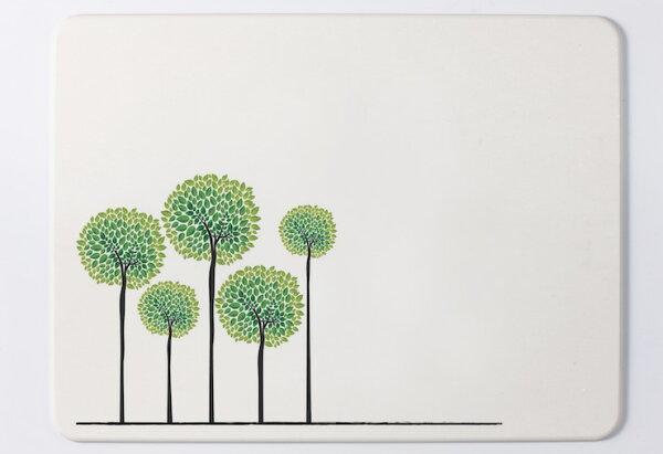足吸珪藻土浴墊:【台灣製】足吸彩繪(綠樹)珪藻土浴墊.吸水.地墊(小尺寸450x300mm)