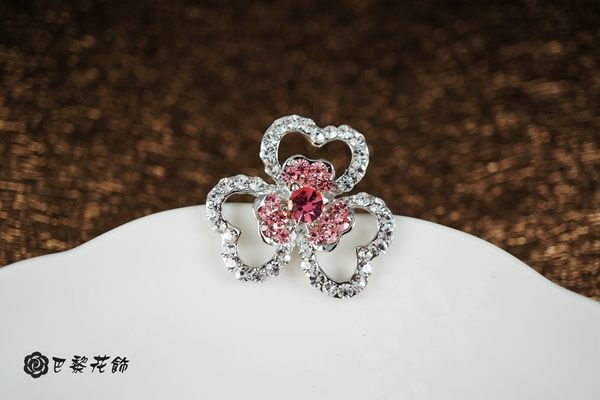 幸福花心 幸運花朵水晶別針~巴黎花飾~