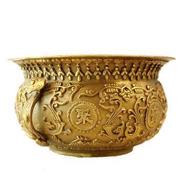 開光銅納財聚寶盆 銅供奉香爐 家居工藝品擺件