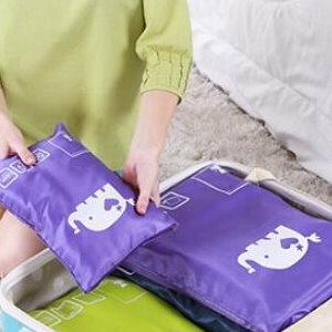 美麗大街【BF168E14E876】SAFEBET 出差旅行大象圖案拉鍊收納袋 防潮行李箱整理袋 大(350*275mm)