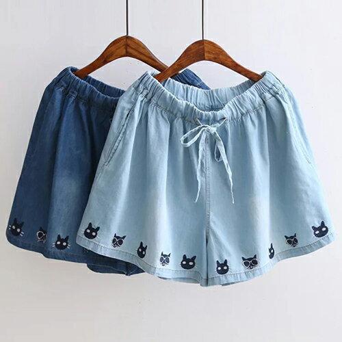 *ORead*日系多貓刺繡鬆緊腰繫帶牛仔短褲(2色F碼) 0