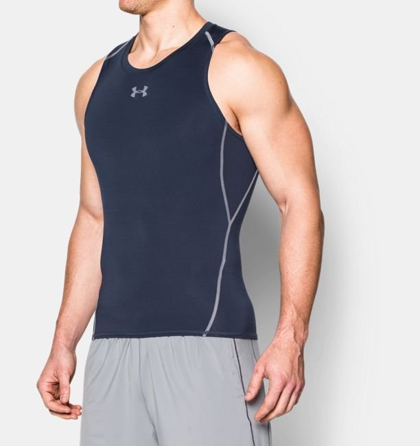 《UA出清6折》Shoestw【1271335-410】UNDER ARMOUR UA服飾 緊身衣 背心 運動束衣 排汗透氣 深藍色 男生