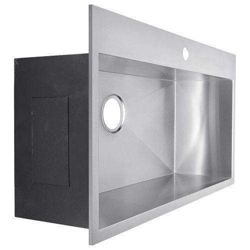 "30"" x 18"" x 9"" Top Mount Drop-In 16 Gauge Stainless Steel Handmade Single Bowl Kitchen Sink 2"