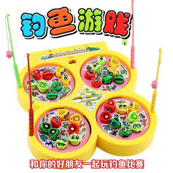 【省錢博士】兒童塑料磁性四盤轉動 / 會唱歌釣魚玩具益智釣魚盤