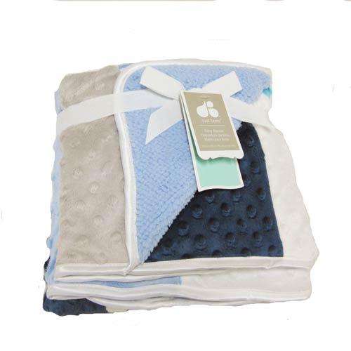 【美國justborn】多用途寶寶攜帶毯-粉藍拼貼泡泡毯