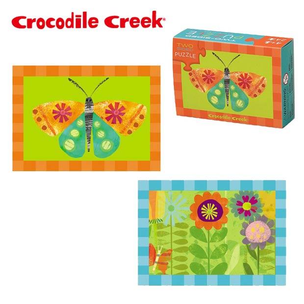 《美國Crocodile Creek》火柴盒雙面拼圖系列-蝴蝶花園(24片)