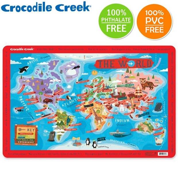 ~美國Crocodile Creek~互動式學習餐墊~世界城市地圖