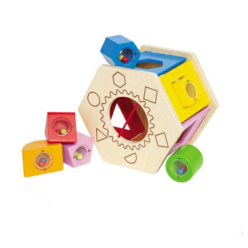 德國【Hape愛傑卡】六角分類積木盒  ★加贈:OOPS寶寶強壯固齒玩具