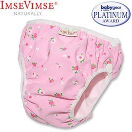 ImseVimse-游泳尿布-粉紅小白花