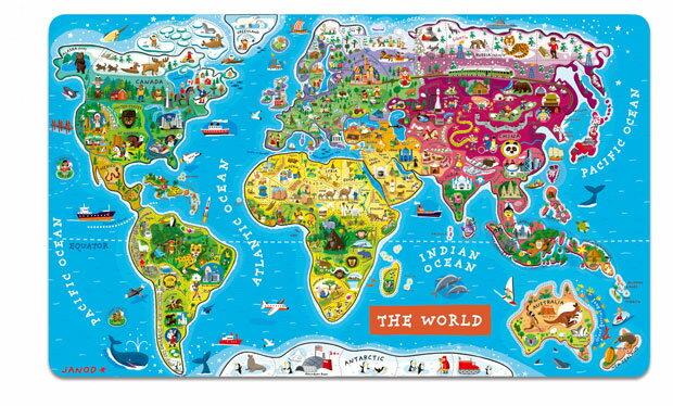 【法國Janod】磁性木質拼圖-世界地圖92pcs