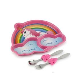 【美國KIDSFUNWARES】造型兒童餐盤組-彩虹小馬 ㊣原廠授權總代理公司貨