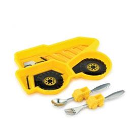 【美國KIDSFUNWARES】造型兒童餐盤組-工程車 ㊣原廠授權總代理公司貨