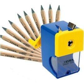 【德國LYRA】兒童三角原木鉛筆超值組@產品內容:兒童三角原木鉛筆(17.5cm)12入+削鉛筆機